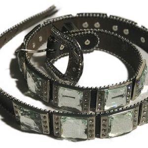 "Accessories - RHINESTONE BELT   Black   42"" long   Women's"